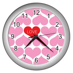 One Love Wall Clock (silver) by Kathrinlegg