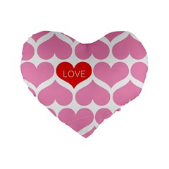 One Love Standard 16  Premium Heart Shape Cushion  by Kathrinlegg