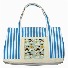 Be Happy Repeat Blue Striped Tote Bag by Kathrinlegg