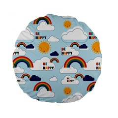 Be Happy Repeat Standard 15  Premium Round Cushion  by Kathrinlegg
