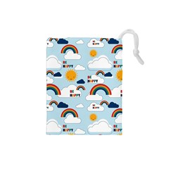 Be Happy Repeat Drawstring Pouch (small) by Kathrinlegg