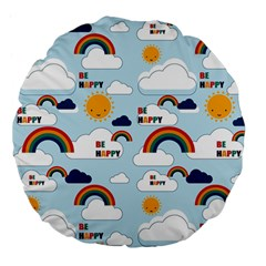 Be Happy Repeat Large 18  Premium Flano Round Cushion  by Kathrinlegg