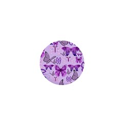 Purple Awareness Butterflies 1  Mini Button Magnet by FunWithFibro