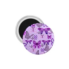 Purple Awareness Butterflies 1 75  Button Magnet by FunWithFibro