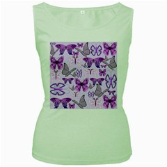 Purple Awareness Butterflies Women s Tank Top (green) by FunWithFibro