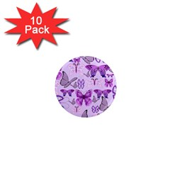 Purple Awareness Butterflies 1  Mini Button Magnet (10 Pack) by FunWithFibro