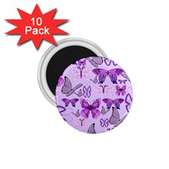 Purple Awareness Butterflies 1 75  Button Magnet (10 Pack) by FunWithFibro