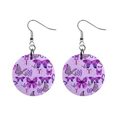 Purple Awareness Butterflies Mini Button Earrings by FunWithFibro