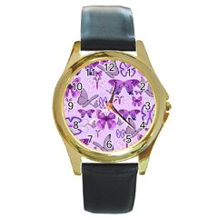 Purple Awareness Butterflies Round Leather Watch (gold Rim)  by FunWithFibro