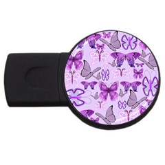 Purple Awareness Butterflies 2gb Usb Flash Drive (round)