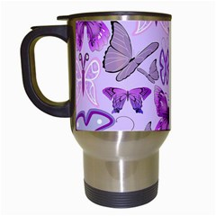Purple Awareness Butterflies Travel Mug (white) by FunWithFibro
