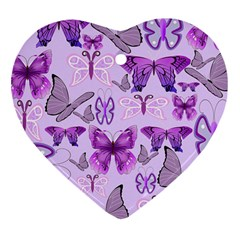 Purple Awareness Butterflies Heart Ornament (two Sides) by FunWithFibro