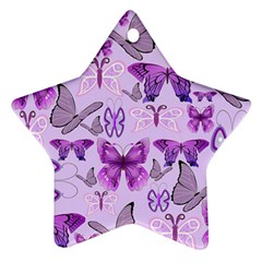 Purple Awareness Butterflies Star Ornament (two Sides) by FunWithFibro