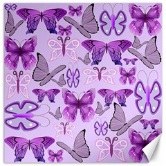Purple Awareness Butterflies Canvas 12  X 12  (unframed) by FunWithFibro