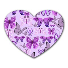 Purple Awareness Butterflies Mouse Pad (heart) by FunWithFibro