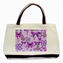 Purple Awareness Butterflies Twin Sided Black Tote Bag