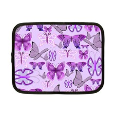 Purple Awareness Butterflies Netbook Sleeve (small) by FunWithFibro
