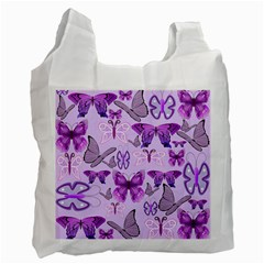Purple Awareness Butterflies White Reusable Bag (one Side) by FunWithFibro