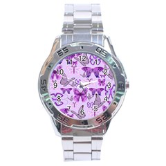 Purple Awareness Butterflies Stainless Steel Watch by FunWithFibro
