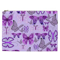 Purple Awareness Butterflies Cosmetic Bag (xxl)