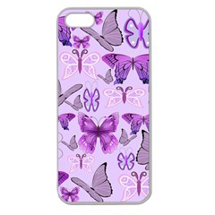 Purple Awareness Butterflies Apple Seamless Iphone 5 Case (clear) by FunWithFibro