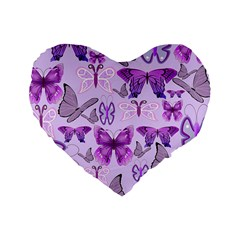 Purple Awareness Butterflies Standard 16  Premium Heart Shape Cushion  by FunWithFibro