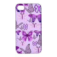 Purple Awareness Butterflies Apple Iphone 4/4s Hardshell Case With Stand by FunWithFibro