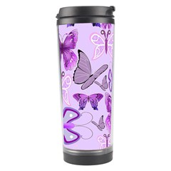 Purple Awareness Butterflies Travel Tumbler by FunWithFibro