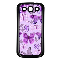 Purple Awareness Butterflies Samsung Galaxy S3 Back Case (black) by FunWithFibro