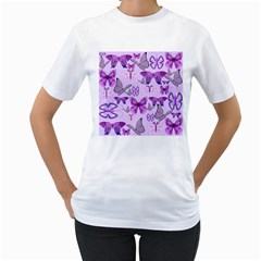 Purple Awareness Butterflies Women s T Shirt (white)  by FunWithFibro