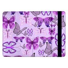 Purple Awareness Butterflies Samsung Galaxy Tab Pro 12 2  Flip Case by FunWithFibro