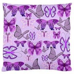 Purple Awareness Butterflies Large Flano Cushion Case (two Sides) by FunWithFibro