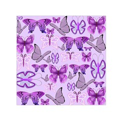 Purple Awareness Butterflies Small Satin Scarf (square) by FunWithFibro
