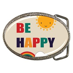 Be Happy Belt Buckle (oval) by Kathrinlegg