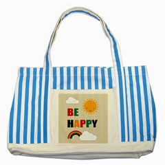 Be Happy Blue Striped Tote Bag by Kathrinlegg