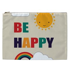 Be Happy Cosmetic Bag (xxl) by Kathrinlegg