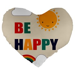 Be Happy Large 19  Premium Heart Shape Cushion by Kathrinlegg