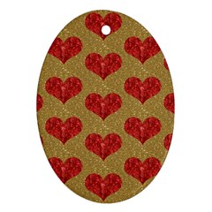 Sparkle Heart  Oval Ornament (two Sides) by Kathrinlegg