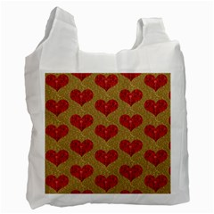 Sparkle Heart  White Reusable Bag (one Side) by Kathrinlegg