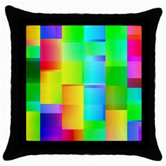 Colorful Gradient Shapes Throw Pillow Case (black) by LalyLauraFLM