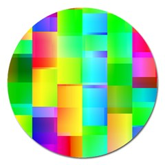 Colorful Gradient Shapes Magnet 5  (round) by LalyLauraFLM