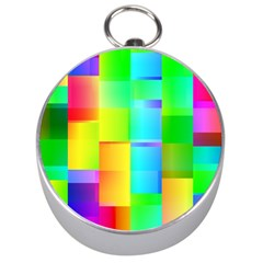 Colorful Gradient Shapes Silver Compass by LalyLauraFLM