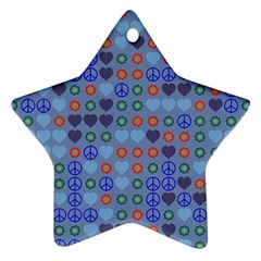 Peace And Love Star Ornament (two Sides) by LalyLauraFLM