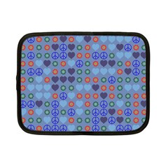 Peace And Love Netbook Case (small) by LalyLauraFLM