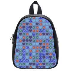 Peace And Love School Bag (small) by LalyLauraFLM