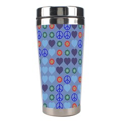 Peace And Love Stainless Steel Travel Tumbler by LalyLauraFLM