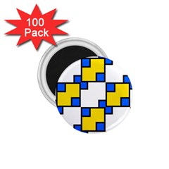 Yellow And Blue Squares Pattern 1 75  Magnet (100 Pack)  by LalyLauraFLM