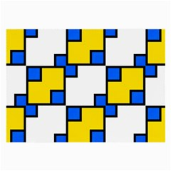 Yellow And Blue Squares Pattern Glasses Cloth (large, Two Sides)
