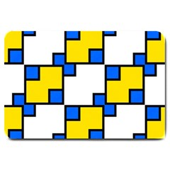 Yellow And Blue Squares Pattern Large Doormat by LalyLauraFLM