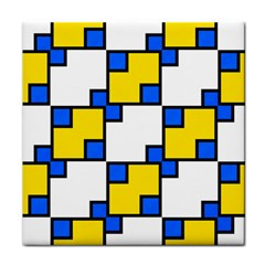 Yellow And Blue Squares Pattern Face Towel by LalyLauraFLM